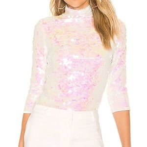Milly | Sequin Turtleneck in Pearl (NWOT)